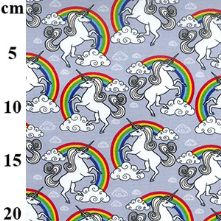 100% Cotton Silver Grey Unicorn Print Fabric x 0.5m